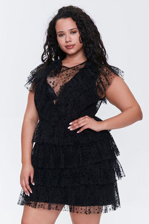 Plus Size Mesh Ruffle-Trim Dress, image 1