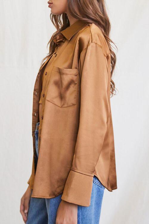 BROWN Satin Cropped Cami & Shirt Set, image 2