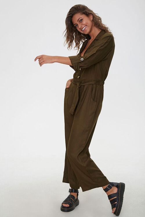 Tie-Waist Button-Front Jumpsuit, image 4