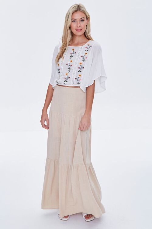 IVORY/MULTI Floral Embroidered Top, image 4