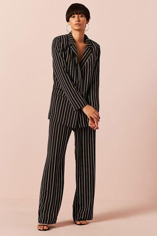 BLACK/IVORY Striped Button-Front Blazer, image 3