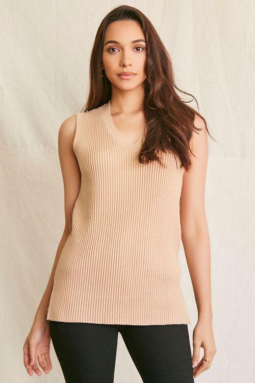 OATMEAL Sweater-Knit Tank Top, image 1
