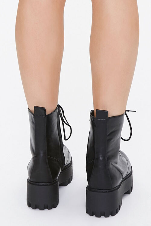 Faux Leather Lace-Up Platform Boots, image 3