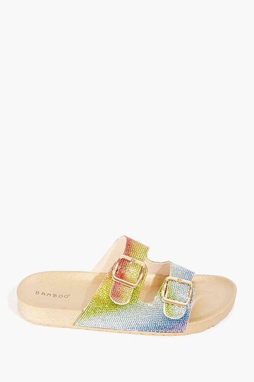 GOLD/MULTI Rainbow Rhinestone Sandals, image 1