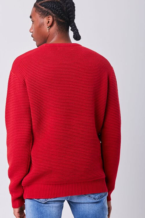 RED Ribbed Crew Neck Sweater, image 3