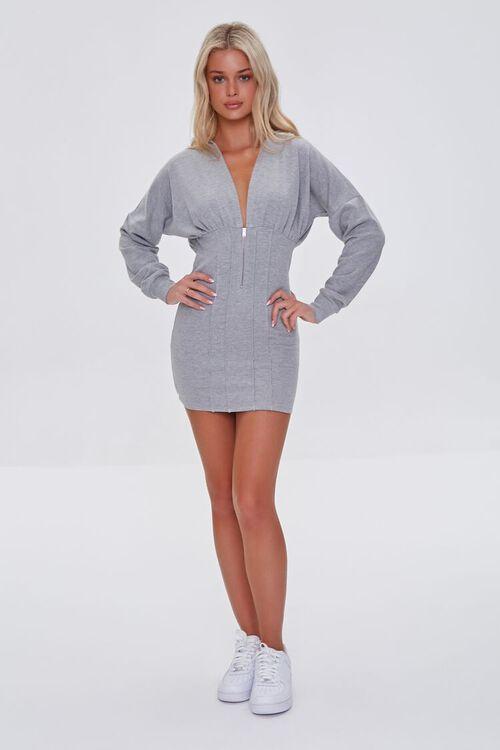 HEATHER GREY Zip-Up Hoodie Dress, image 4