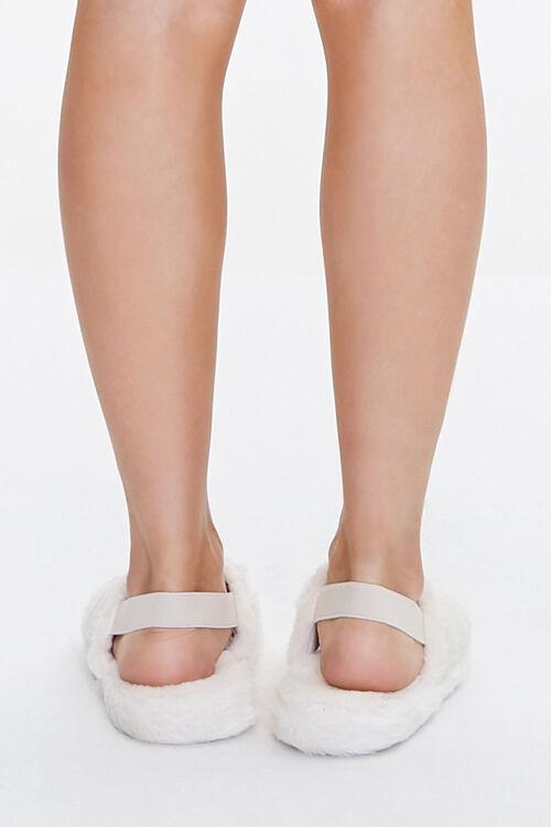 Faux Fur Open-Toe Indoor Slippers, image 3