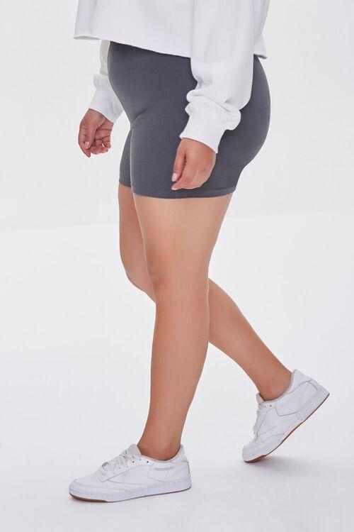 DARK GREY Plus Size Basic Organically Grown Cotton Hot Shorts, image 3