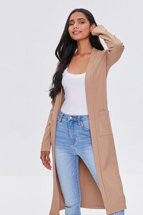 TAUPE Longline Cardigan Sweater, image 1