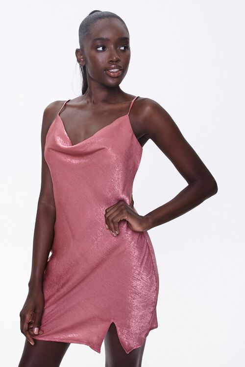 Satin Cowl-Neck Dress, image 1