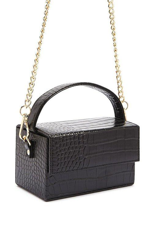 BLACK Faux Croc Embossed Crossbody Bag, image 2