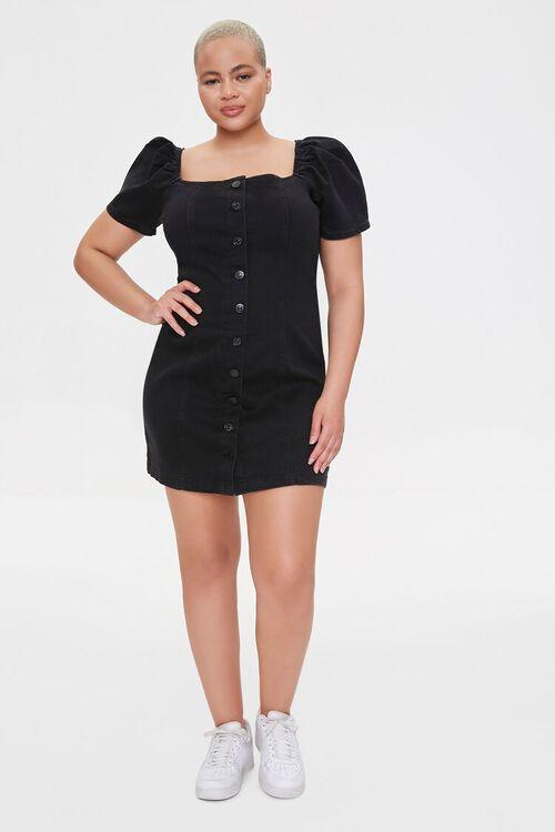 Plus Size Chambray Puff-Sleeve Dress, image 4