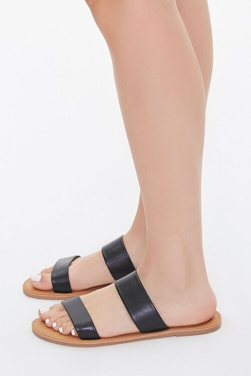 Faux Leather Flat Sandals, image 2