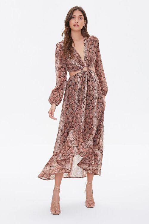 Snakeskin Print Cutout Dress, image 4