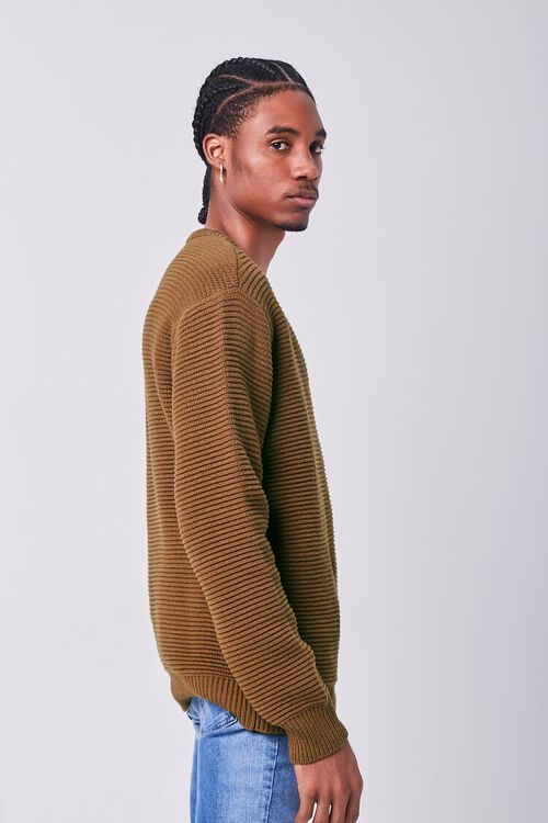 LIGHT BROWN Ribbed Crew Neck Sweater, image 2