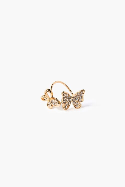 GOLD Faux Gem Butterfly Ring, image 1