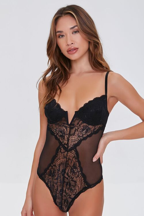 BLACK Sheer Lace Bodysuit, image 4