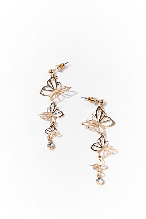GOLD/CLEAR Tiered Butterfly Drop Earrings, image 2