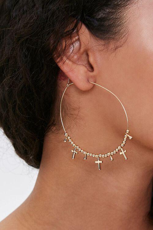 Cross Charm Hoop Earrings, image 1