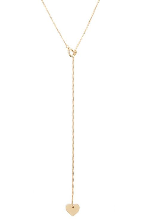 Dual Heart Charms Lariat Necklace, image 1