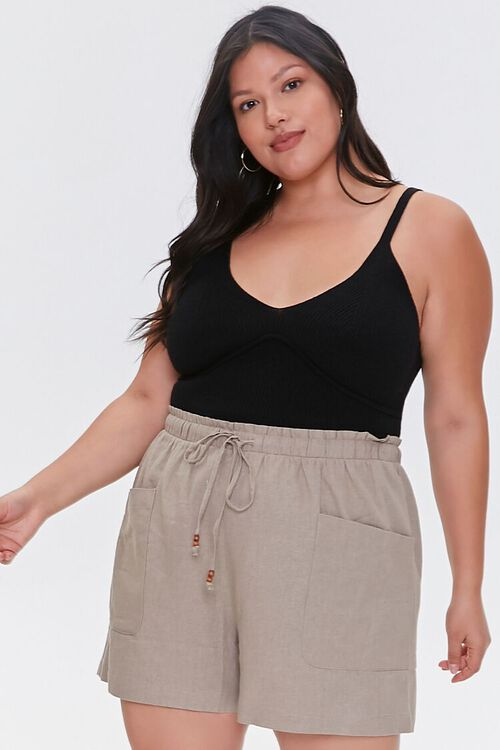 Plus Size Linen Paperbag Shorts, image 1