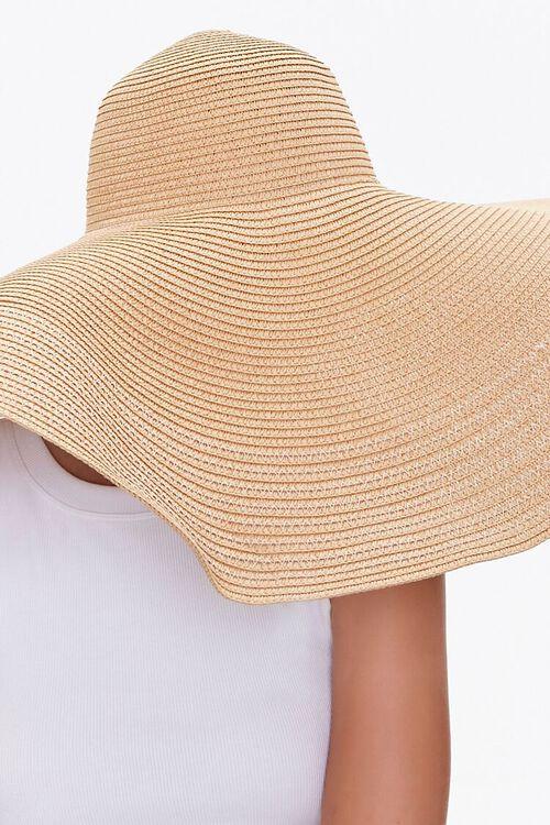 TAN Oversized Floppy Straw Hat, image 3