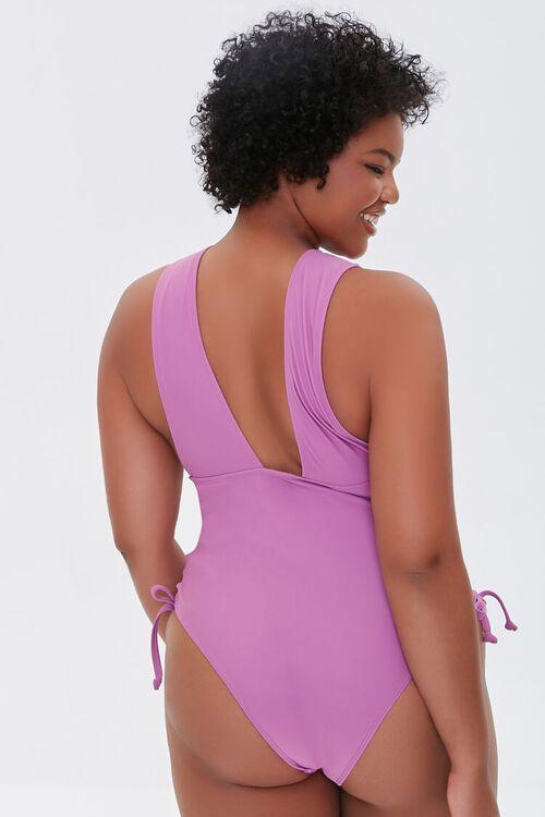 Plus Size Lace-Up One-Piece Swimsuit, image 3