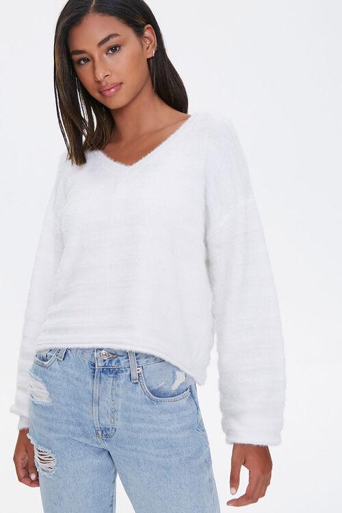 Fuzzy Knit Drop-Shoulder Sweater, image 1