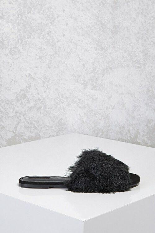 Faux Fur Slide Sandals, image 2