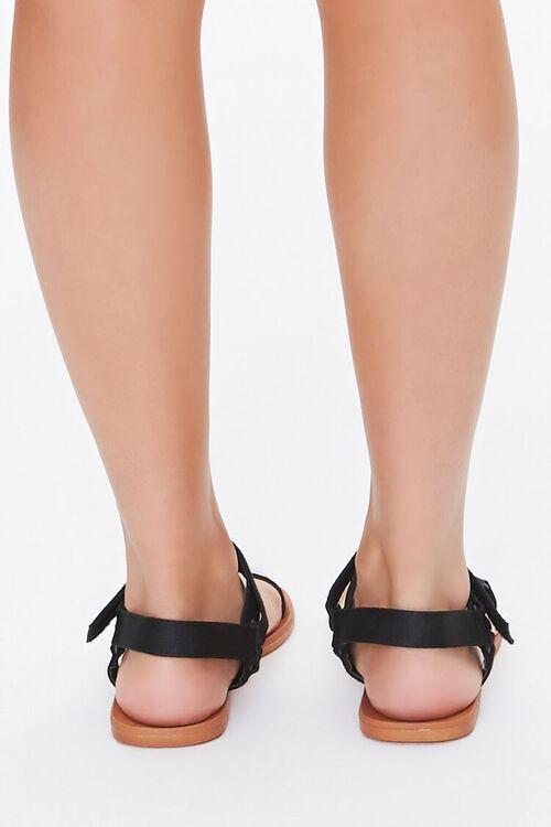 BLACK Adjustable Caged Flat Sandals, image 4