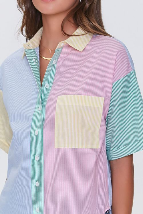 BLUE/MULTI Colorblock Pinstriped Shirt, image 5