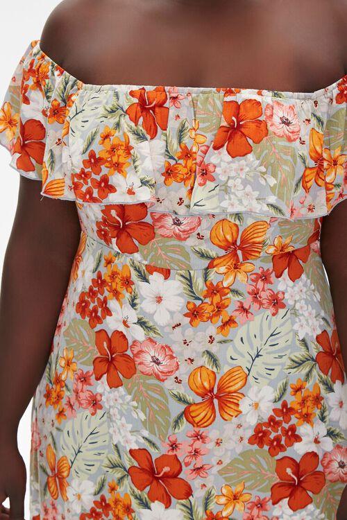 BLUE/MULTI Plus Size Floral Print Mini Dress, image 5