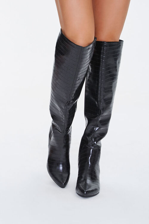 Faux Croc Leather Knee-High Boots, image 4