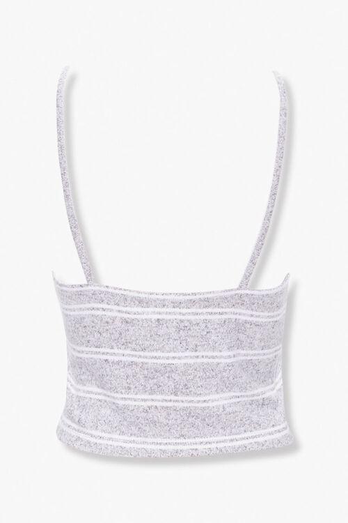 GREY/WHITE Striped Lace-Trim Lounge Cami, image 2