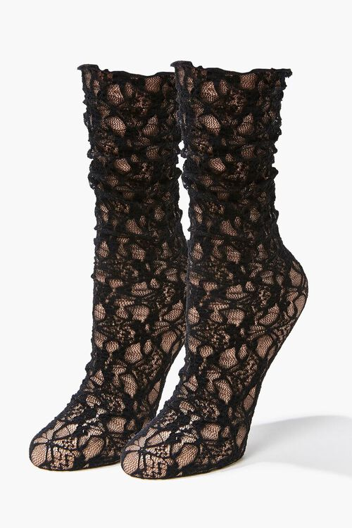 Sheer Lace Crew Socks, image 1