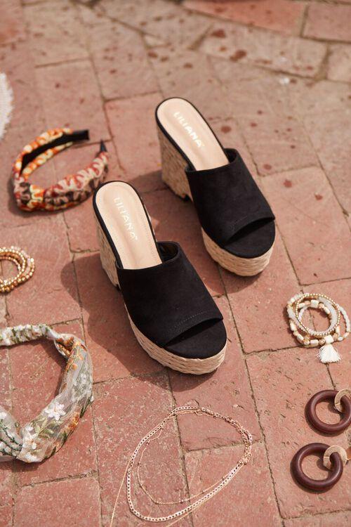 BLACK Faux Suede Espadrille Block Heels, image 1