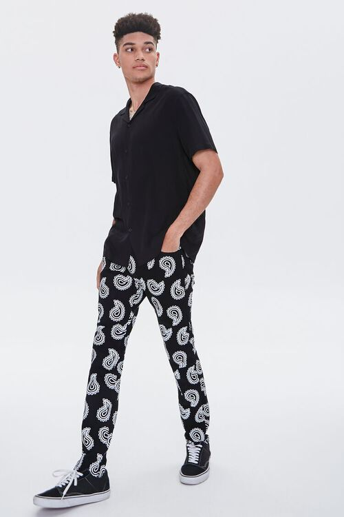 Paisley Print Skinny Jeans, image 1