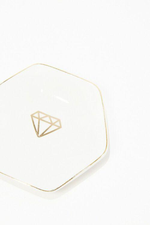 WHITE/GOLD Hexagon Ceramic Coaster, image 1