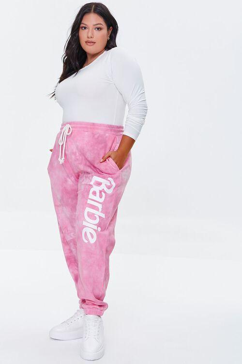 PINK/MULTI Plus Size Tie-Dye Barbie™ Joggers, image 1