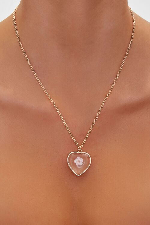 Floral Heart Pendant Necklace, image 1