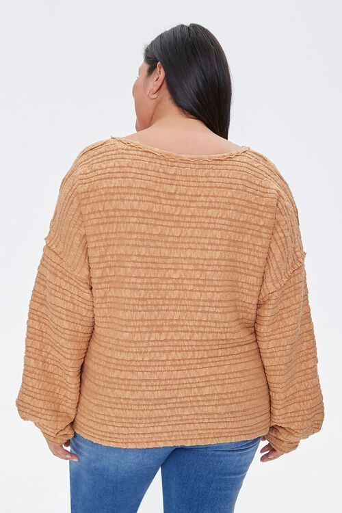 Plus Size Textured V-Neck Top, image 3