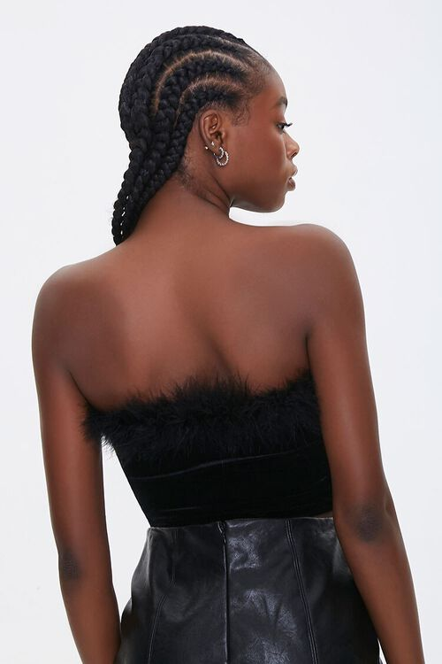 Faux Feather-Trim Tube Top, image 3