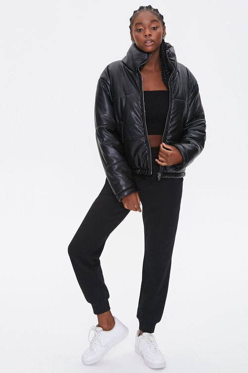 Faux Leather Puffer Jacket, image 3