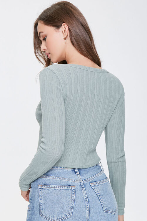 Ribbed Button-Front Top, image 3