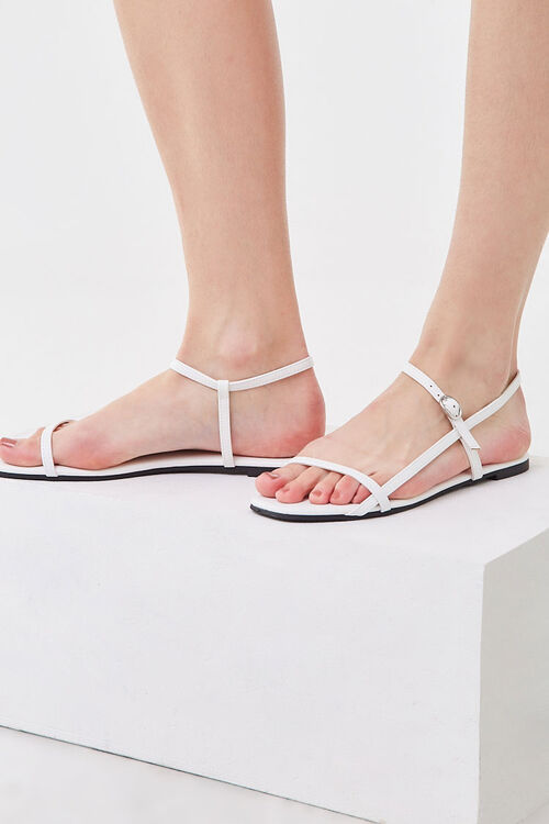 WHITE Strappy Flat Sandals, image 1