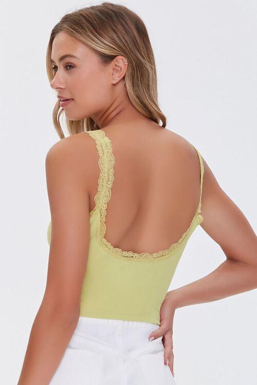 LIGHT GREEN Lace-Trim V-Neck Cami, image 3