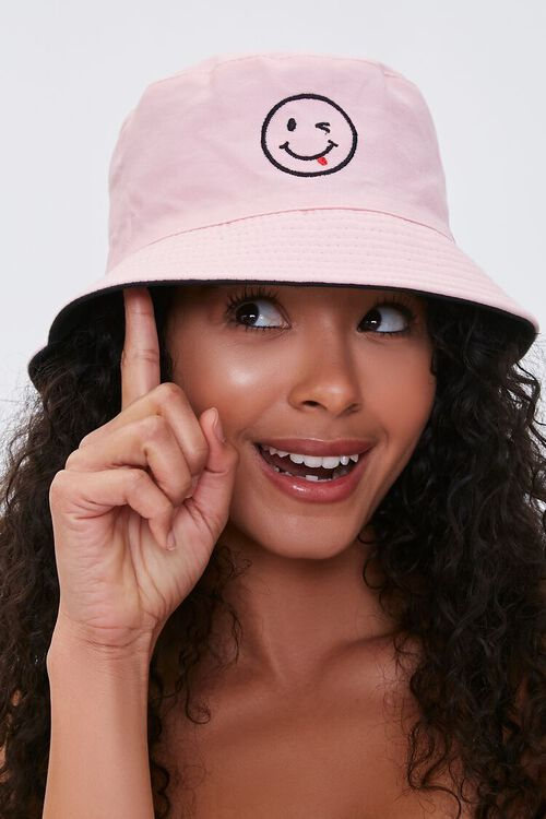 Smiling Embroidered Graphic Bucket Hat, image 2