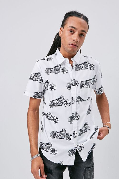 Motorcycle Print Fitted Shirt, image 1
