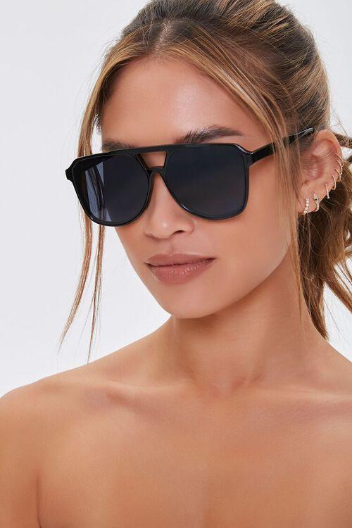 BLACK/BLACK Geo Aviator Sunglasses, image 1