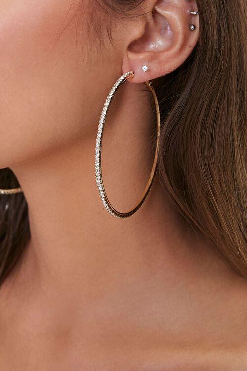Oversized Rhinestone Hoop Earrings, image 1